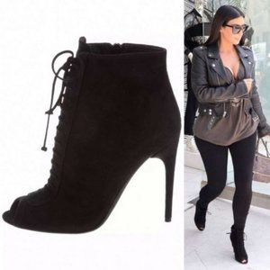 Tom Ford Peep Toe Lace-Up Ankle Suede Black Boots